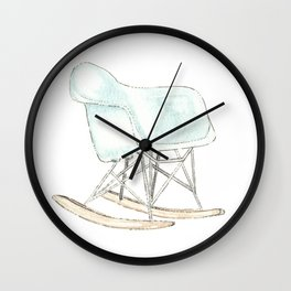 Blue Eames Molded Plastic Armchair Rocker Base Art Iconic Furniture Wall Clock