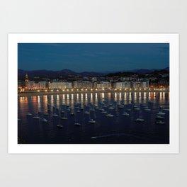 Night view of Donostia-San Sebastian. Spain. Art Print