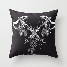 Two crossed tomahawks Throw Pillow