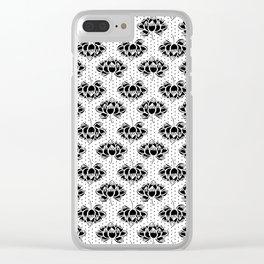 Linocut lotus flower black and white printmaking minimal pattern florals Clear iPhone Case