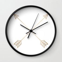 Adventure White Gold Arrows Wall Clock