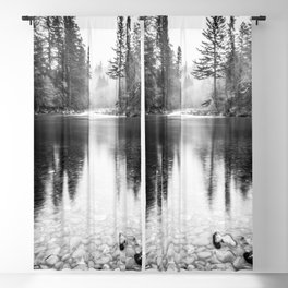 Forest Reflection Lake - Black and White  - Nature Photography Blackout Curtain