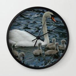 Mute Swan & Cygnets Wall Clock