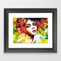 The Red Flower Fairy Framed Art Print