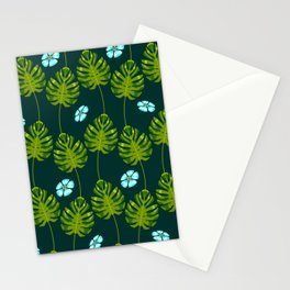 Island Palm Leaves & Blue Tropical Flowers Pattern Stationery Cards