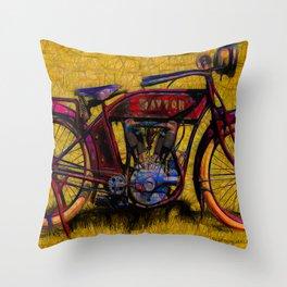 Vintage 1950's Motorcycle Throw Pillow
