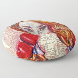 Floral Girl on dictionary page Floor Pillow