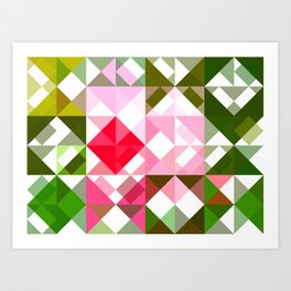 Pink Roses in Anzures 4 Abstract Triangles 1 Art Print