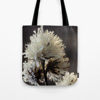 weed Tote Bags featuring frosty weed by Bonnie Jakobsen-Martin