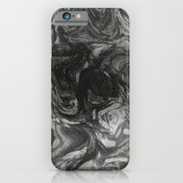 Gray White Acrylic Pour Marble Marbleized Faux Gold Flex iPhone Case