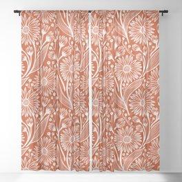 Rust Coneflowers Sheer Curtain