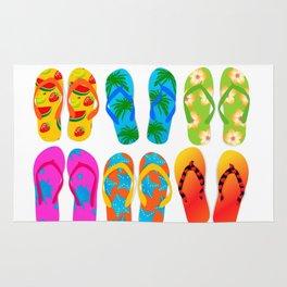Sandals Colorful Fun Beach Theme Summer Rug