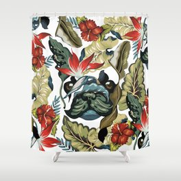 Tropical Frenchie Shower Curtain