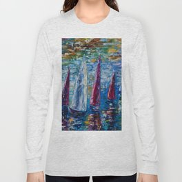Sails To-night oil painting with Palette Knife Long Sleeve T-shirt