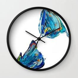 Floating Blue Poppy Petals Wall Clock