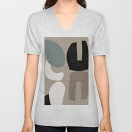 Abstract Clay Shapes 0287 Beige Black Teal Unisex V-Neck