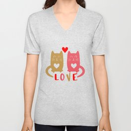 Cats in Love shirt Unisex V-Neck