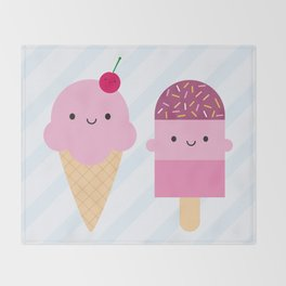 Summer Ice Cream Treats Throw Blanket
