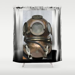 Antique vintage metal underwater diving helmet Shower Curtain