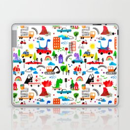 Dinosaur City Watercolor Transportation Pattern Laptop & iPad Skin