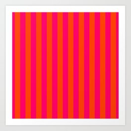 Super Bright Neon Pink and Orange Vertical Beach Hut Stripes Art Print