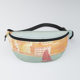 Italy, Cinque Terre Vintage Travel Poster Fanny Pack