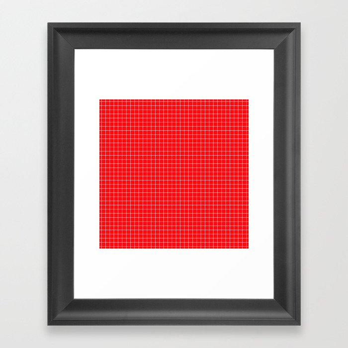 Red Grid White Line Gerahmter Kunstdruck