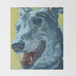 Dilly the Greyhound Portrait Throw Blanket