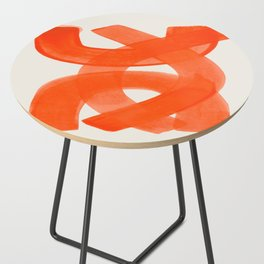 Mid Century Modern Abstract Painting Orange Watercolor Brush Strokes Side Table