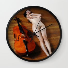 0137-JC Nude Cellist with Her Cello and Bow Naked Young Woman Musician Art Sexy Erotic Sweet Sensual Wall Clock