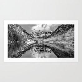 Wide Angle Maroon Bells Panoramic Landscape - Monochrome Art Print