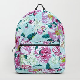 Vintage modern pink green teal watercolor floral Backpack
