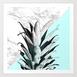 Pineapple Top Marble Pastel Blue Art Print