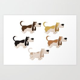 Basset Hound Colors Illustration Art Print