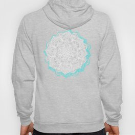Turquoise & White Mandalas on Grey Hoody