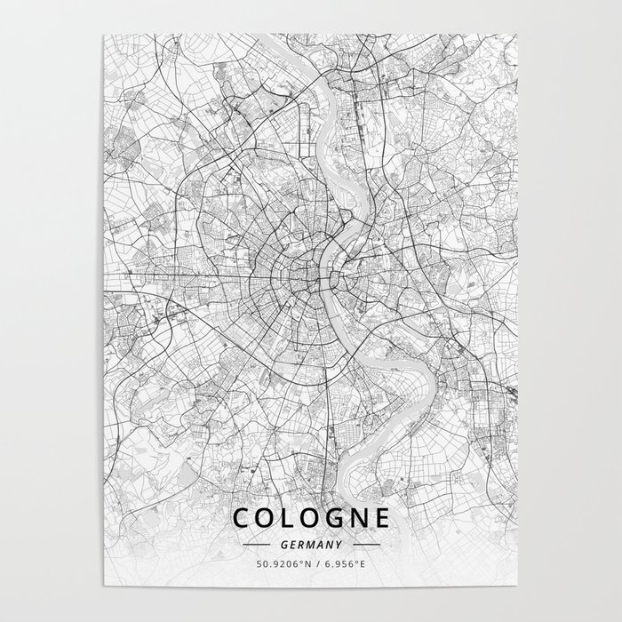 Cologne, Germany - Light Map Poster by designermapart