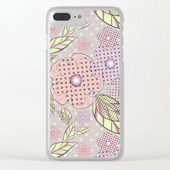 Flowers in polka dots. Clear iPhone Case