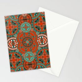 Vintage Rococo Royal Sacred Geometry Crimson and Turquoise Stationery Cards