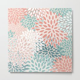 Modern Floral Prints, Teal, Peach, Coral, Abstract Art, Colour Prints Metal Print
