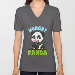 Cute Hungry Panda Always Hungry Funny Baby Panda Unisex V-Neck