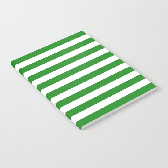 Horizontal Stripes (Forest Green/White) Notebook