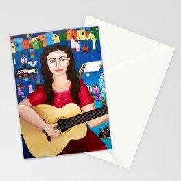 Violeta Parra playing guitar Stationery Cards