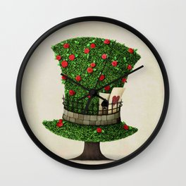 Fantasy green hat in the shape of tree with flowers Wall Clock