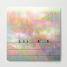The Quickening, Abstract Sky and Birds Metal Print