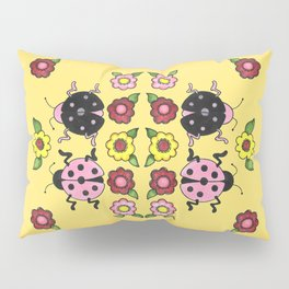 Ladybugs with Flowers Pillow Sham