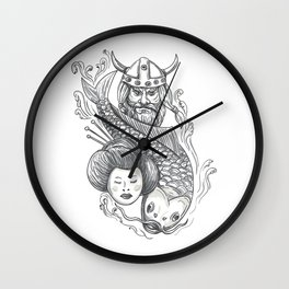 Viking Carp Geisha Head Tattoo Wall Clock