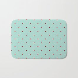 Blue with Red Dots Bath Mat