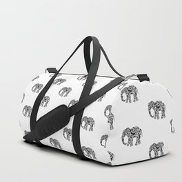 Elephant Flourish in Black Duffle Bag