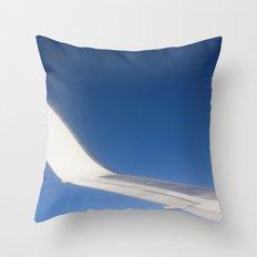 Airplane Wingtip on a blue sky Throw Pillow