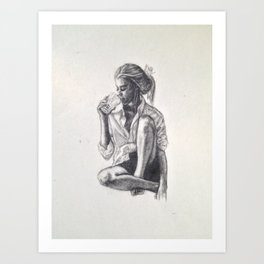 Woman Drinking Something Art Print